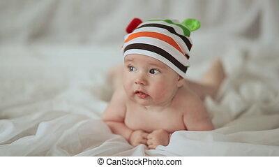 rigolote, sien, vieux, mois, quatre, bébé, estomac, sourire, mensonge