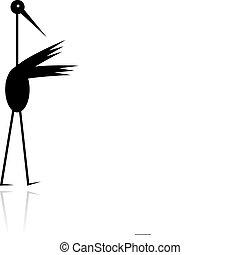 rigolote, silhouette, cigogne, conception, noir, ton