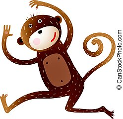 rigolote, singe, animal, dessin animé