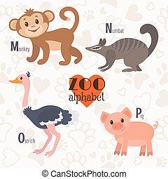 rigolote, singe, o, n, zoo, alphabet, letters., p, m, numbat, cochon, autruche, animals.