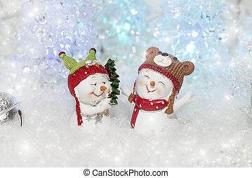 rigolote, snowmen, deux, décorations, noël