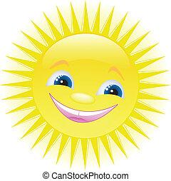 rigolote, sourire, dessin animé, soleil