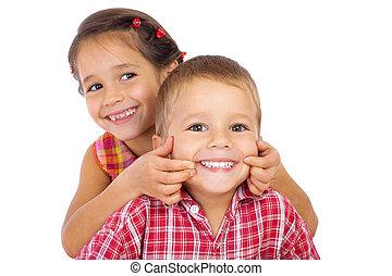 rigolote, sourire, enfants, peu, deux