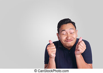 rigolote, sourire, homme asiatique