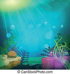 rigolote, sous-marin, paysage, océan