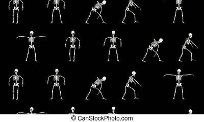 rigolote, squelette, halloween, arrière-plan., fête, vidéo, ...