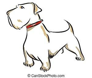 rigolote, stockage, chien, illustration.