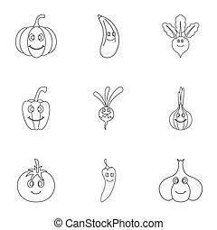 rigolote, style, contour, ensemble, légumes, icône