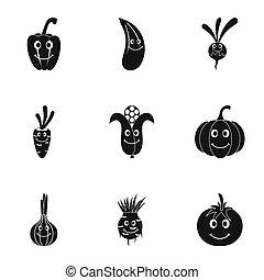 rigolote, style, ensemble, légumes, simple, icône, emoji