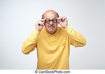 rigolote, super, isolé, arrière-plan., blanc, lunettes, expression, caucasien, surpris, homme