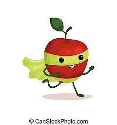 rigolote, superhero, pomme, caractère, masque, courant, en ...