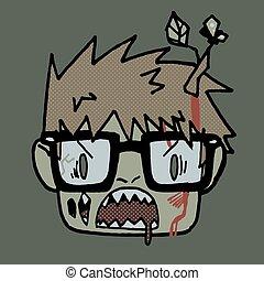 rigolote, tête, zombi, hipster, icon., dessin animé, mascotte