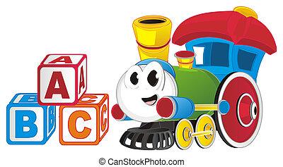 rigolote, train, coloré, jouet