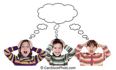 rigolote, trois, même, pensée, enfants, surpris