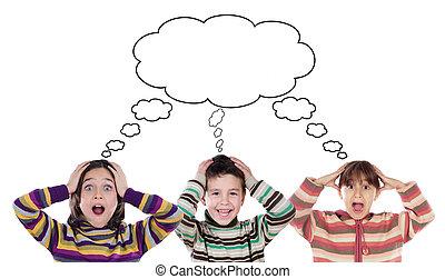 rigolote, trois, surpris, enfants