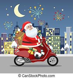 rigolote, vélomoteur, mignon, claus, santa, équitation