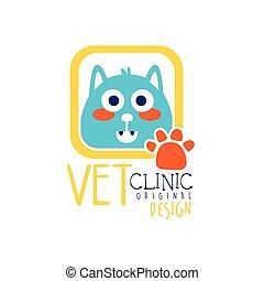 rigolote, vétérinaire, coloré, conception, chat, illustration, main, clinique, vecteur, gabarit, logo, dessiné, écusson, original