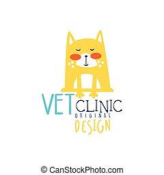 rigolote, vétérinaire, coloré, conception, illustration, main, clinique, vecteur, gabarit, logo, dessiné, chat, écusson, original