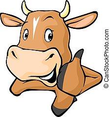 rigolote, vache, derrière, w, jette coup oeil, dehors