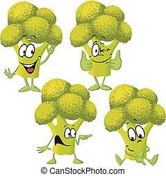 rigolote, vecteur, -, brocoli, dessin animé
