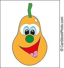 rigolote, vecteur, cartoon., fruit.