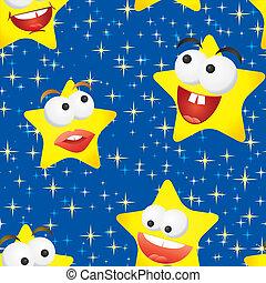 rigolote, vecteur, ciel, seamless, illustration, fond, étoiles, nuit