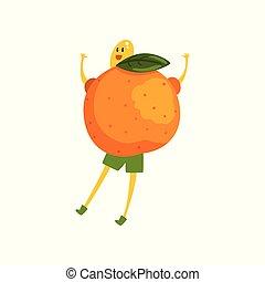 rigolote, vecteur, courageux, caractère, illustration, fruit, fond, mandarin, blanc, humanized, dessin animé