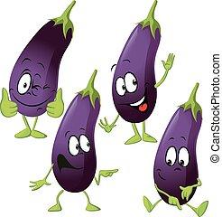rigolote, vecteur, -, dessin animé, aubergine