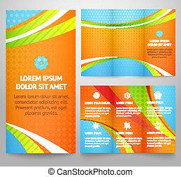 rigolote, vecteur, disposition, business, coloré, tri-fold, couverture, trois, illustration, ou, print., pli, clair, aviateur, brochure, professionnel, gabarit, conception corporation, waves., design.