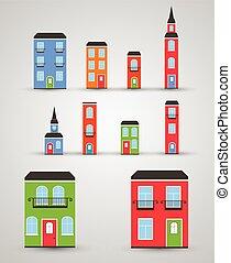rigolote, vecteur, ensemble, bâtiments.