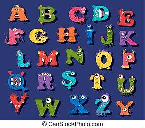 rigolote, vecteur, halloween, enfants, alphabet