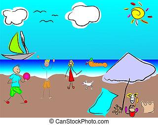 rigolote, vecteur, plage, famille