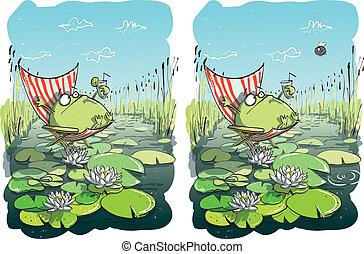 rigolote, visuel, différences, jeu, grenouille