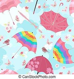 rigolote, voler, seamless, texture, conception, ton, parapluies