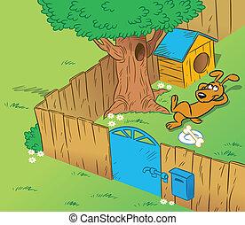 rigolote, yard, chien