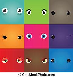 rigolote, yeux, ensemble, monstre, dessin animé