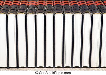 rij van boeken, op, een, plank