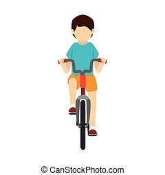 rijden, fiets, man