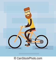 rijden, fiets, ongedwongen, man
