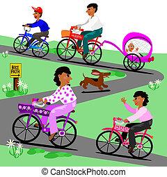 rijden, fiets, pa???e?, gezin
