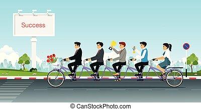 rijden, fiets, tandem