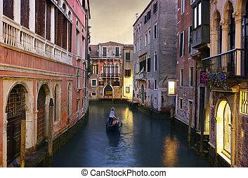 rijden, gondola, venetie, traditionele