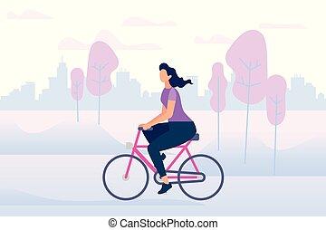 rijden, lucht., fiets, actief, modieus, meisje, het genieten...