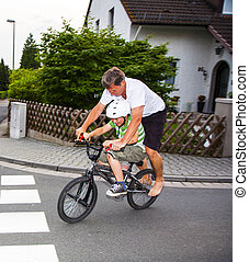 rijden, vader, zoon, fiets