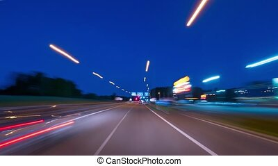 rijden van een auto, op, nacht, stad, timen-afloop