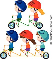 rijdende fiets, kinderen, vrolijke
