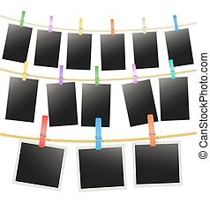 rijen, foto, drie, koord, vector, hangend, lijstjes, clothespins.