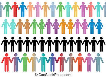 rijen, mensen, symbool, anders, handen, houden, grens