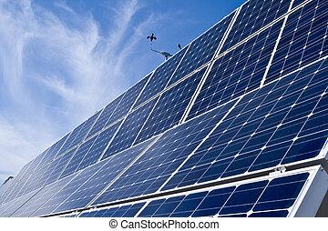 rijen, photovoltaic, zonne, panelen, afstand, blauwe hemel