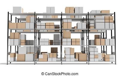 Rijen, Planken, Interieur, dozen, Magazijn,  3D